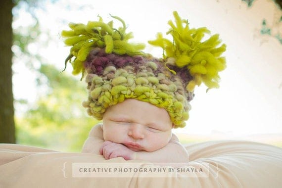 Baby Grapes Chunky Pom-Pom Hat for Baby - knitbysarah