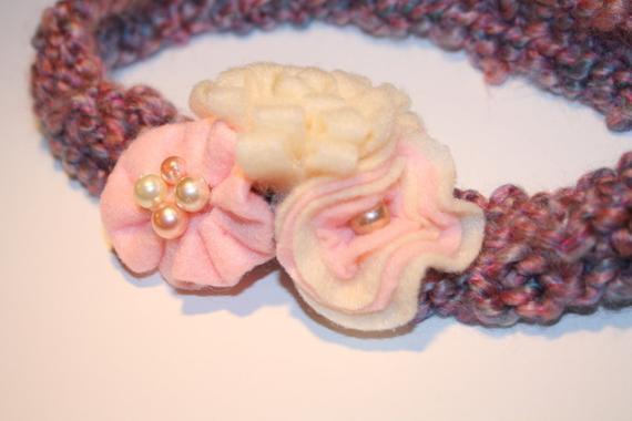 Pink Winter Knit Headband- paisleyorpolkadots