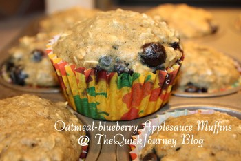 Oatmeal-Blueberry Applesauce Muffins