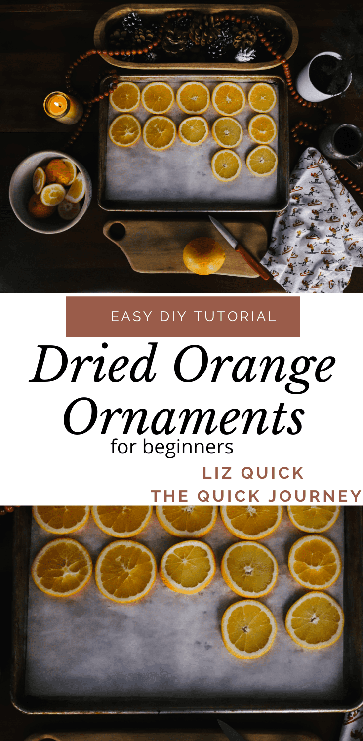 dried oranges on a baking sheet to make dried orange ornaments