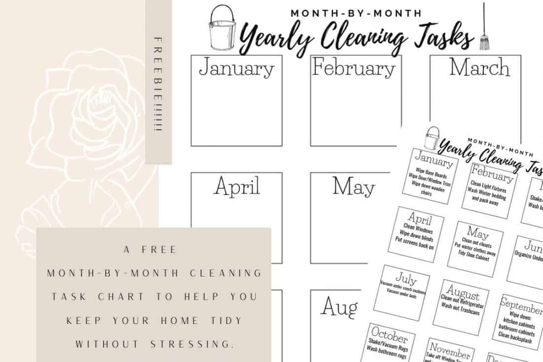 freebie monthly cleaning task calendar