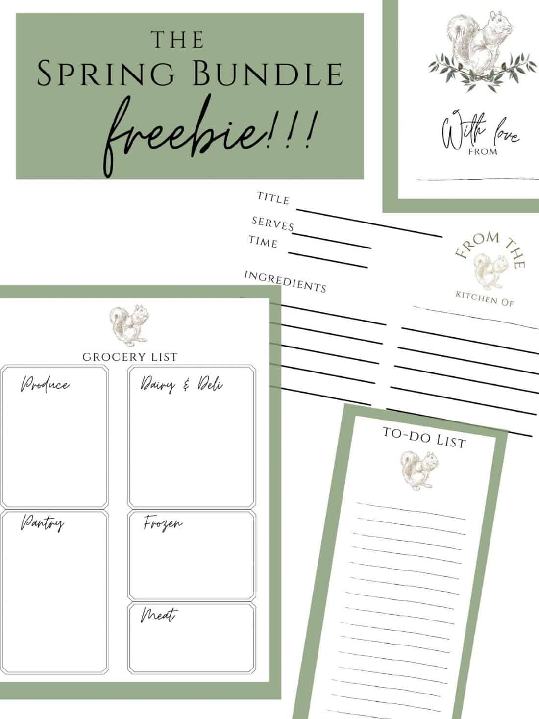 spring bundle freebies recipe card to-do list grocery list