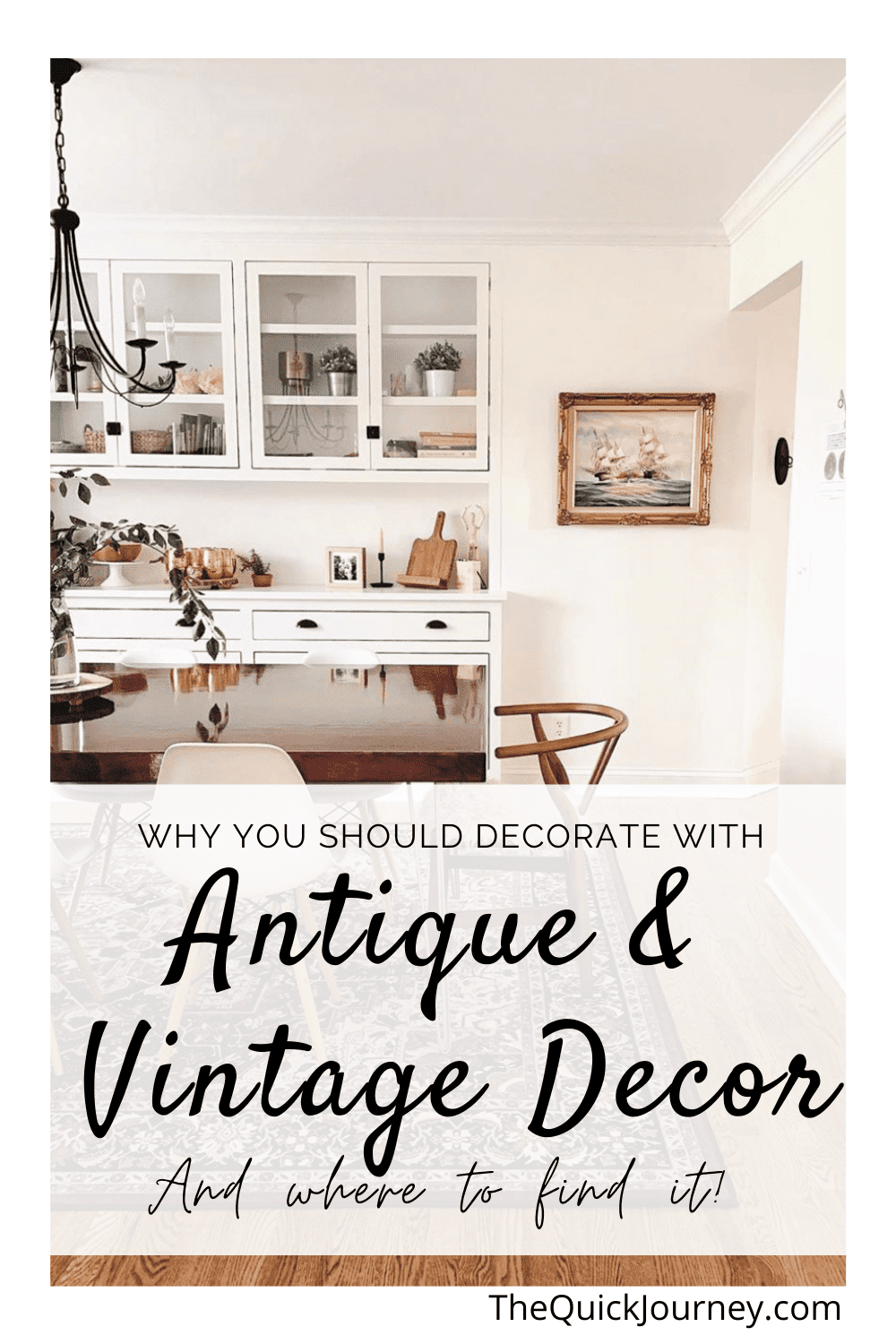 decorating a home with antique and vintage pieces dining table with antique oil painting on the wall