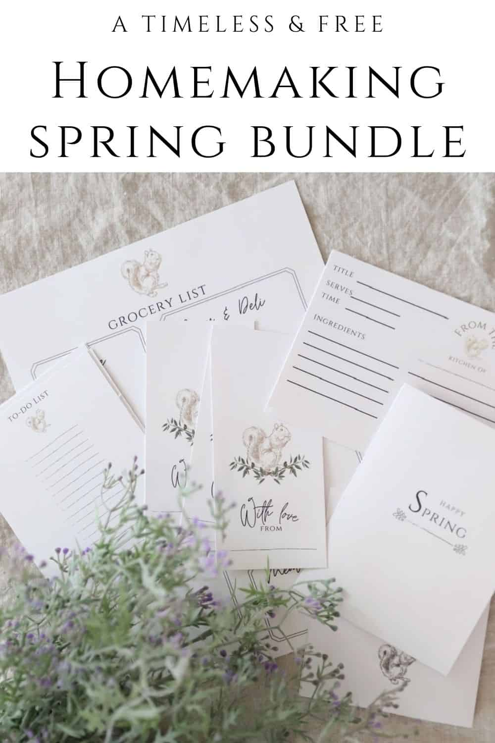 spring grocery list, recipe card, gift tag, and to-do list printable bundle