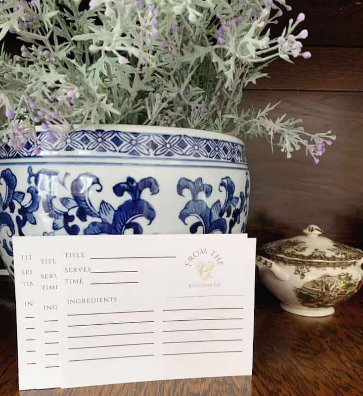 spring bundle recipe cards in front of blue and white planter and purple flowers