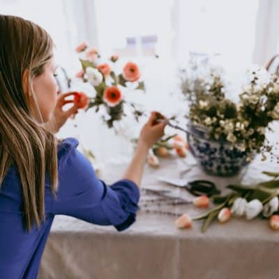 how to create a faux flower arrangment