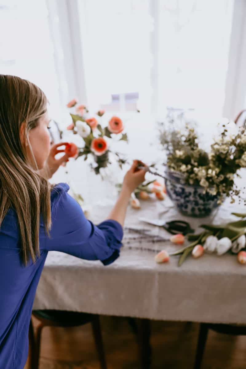 spring decorating 2021 with faux flowers