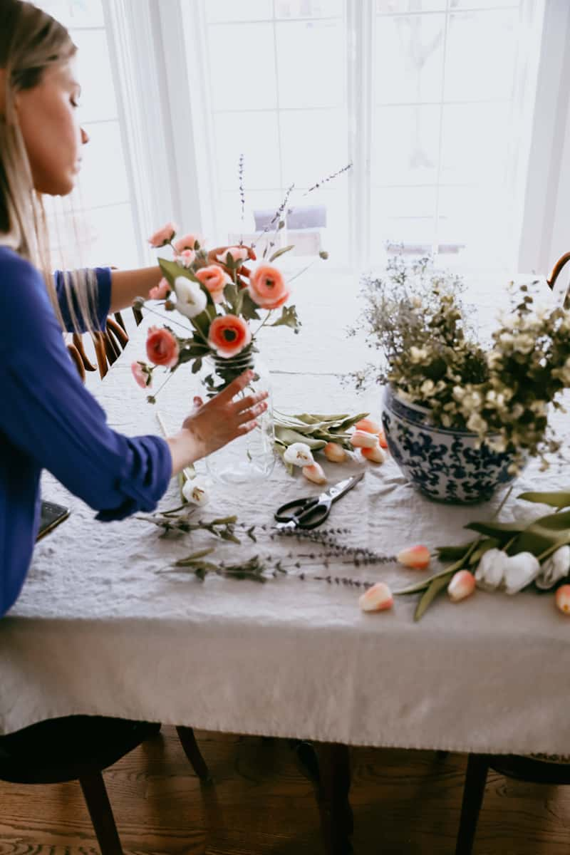 spring decorating with faux flowers