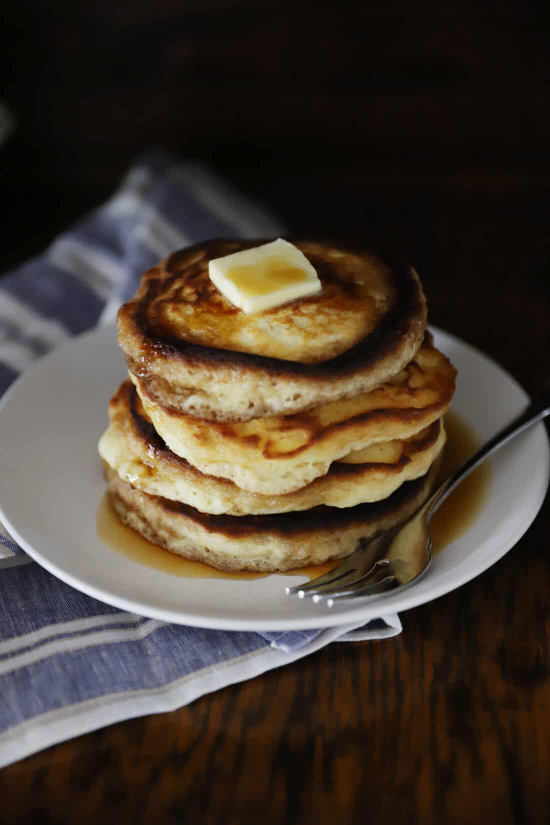 hot pancakes with melting butter on top