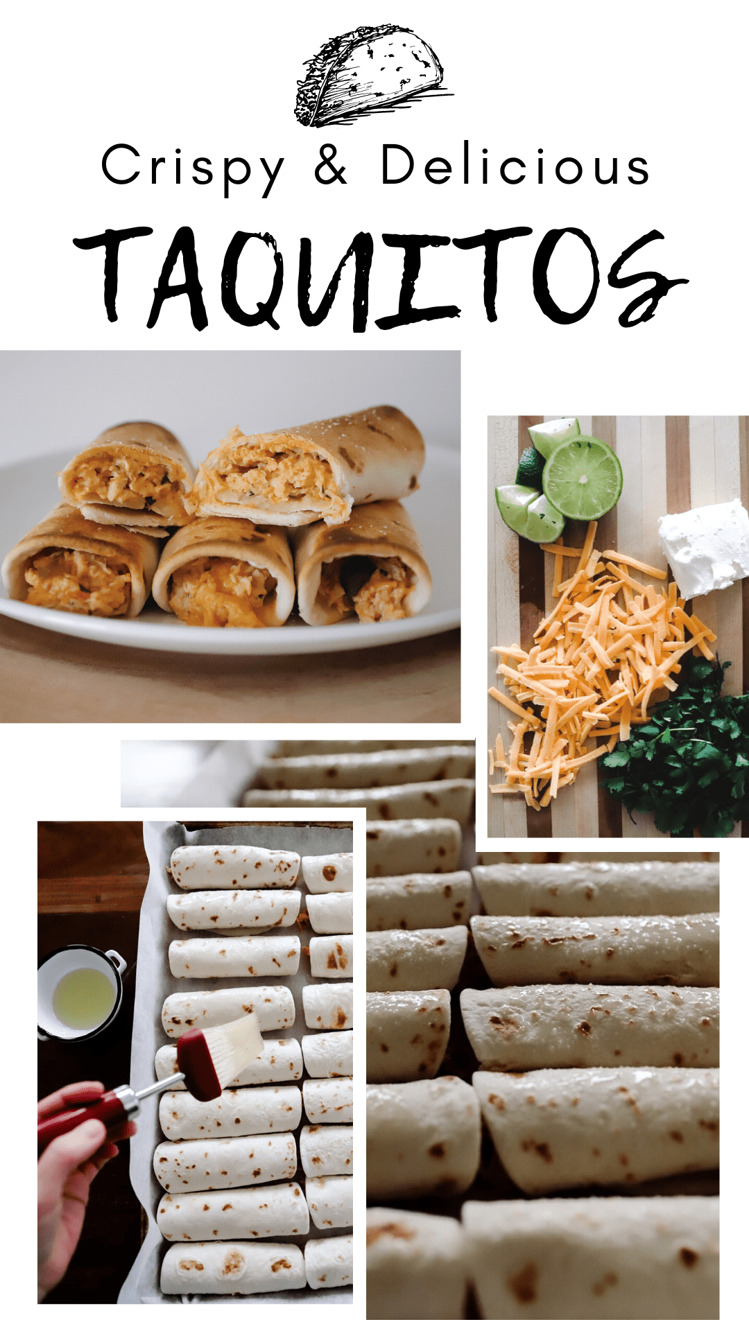pictures of baked chicken taquitos on a kitchen counter
