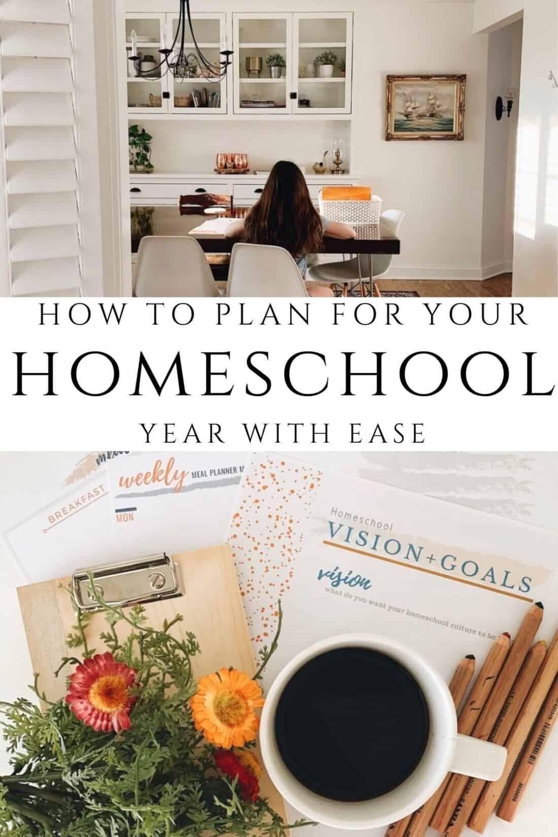 pencils and coffee with a homeschool planner on a white counter
