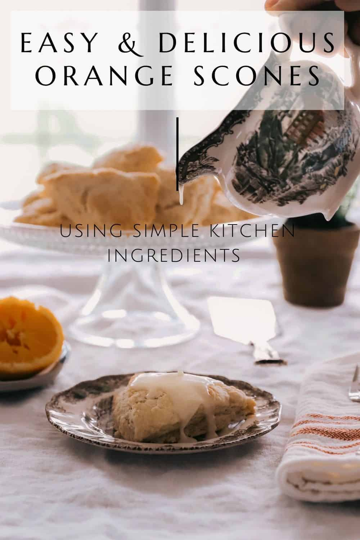 easy orange scones with orange glaze dripping on top of the baked scone