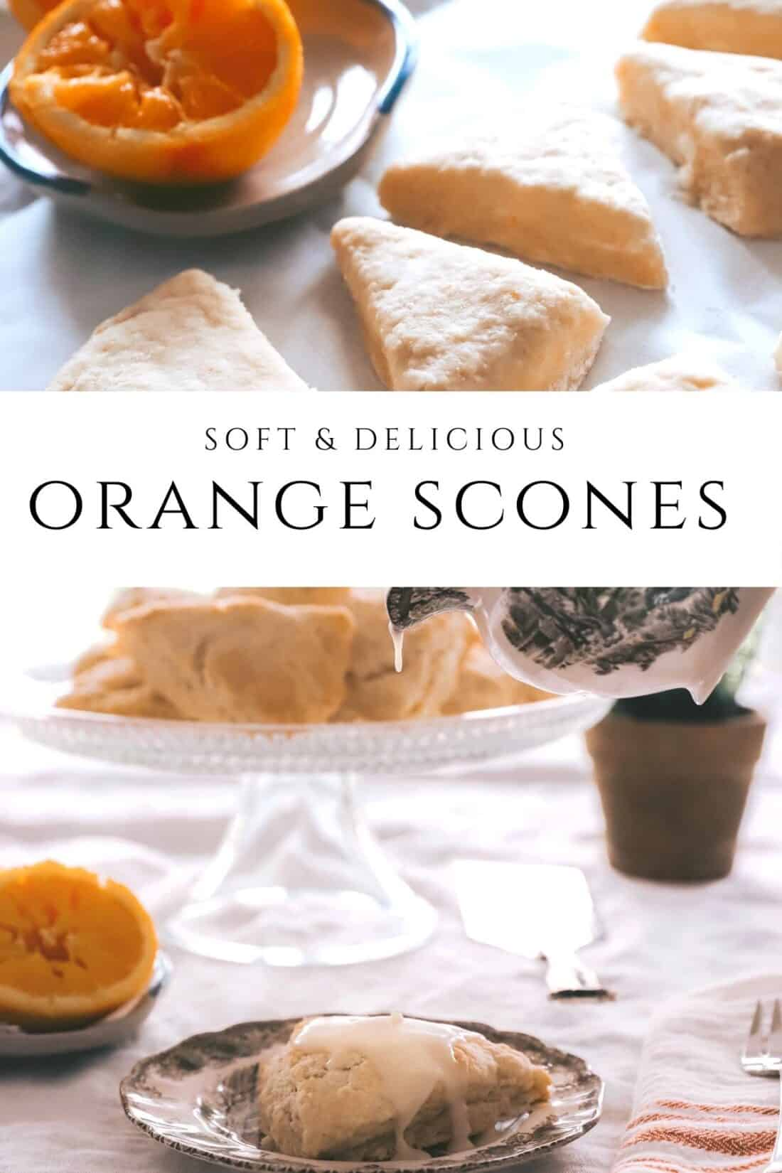 soft and delicious orange scones laid on a table