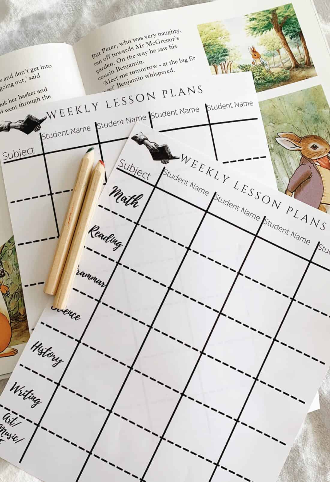 weekly lesson planning sheets laying on top of a child's book