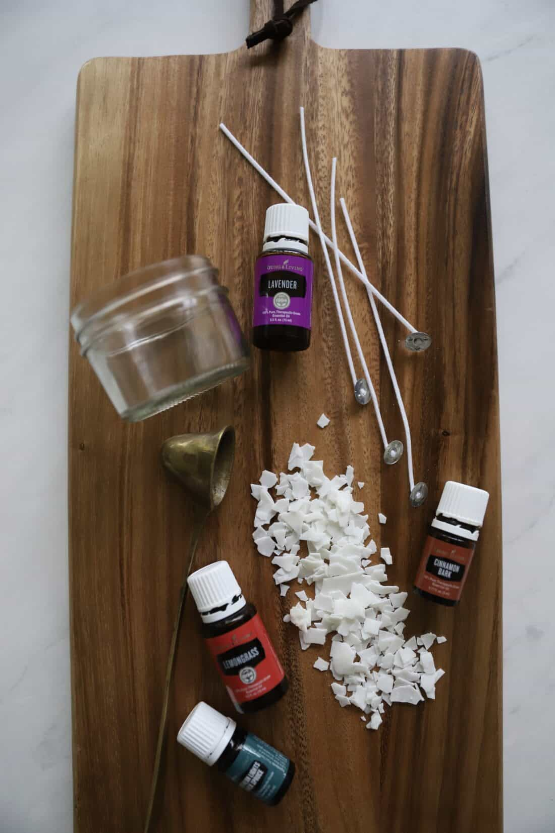 all of the supplies you need to make DIY essential oil candles from home