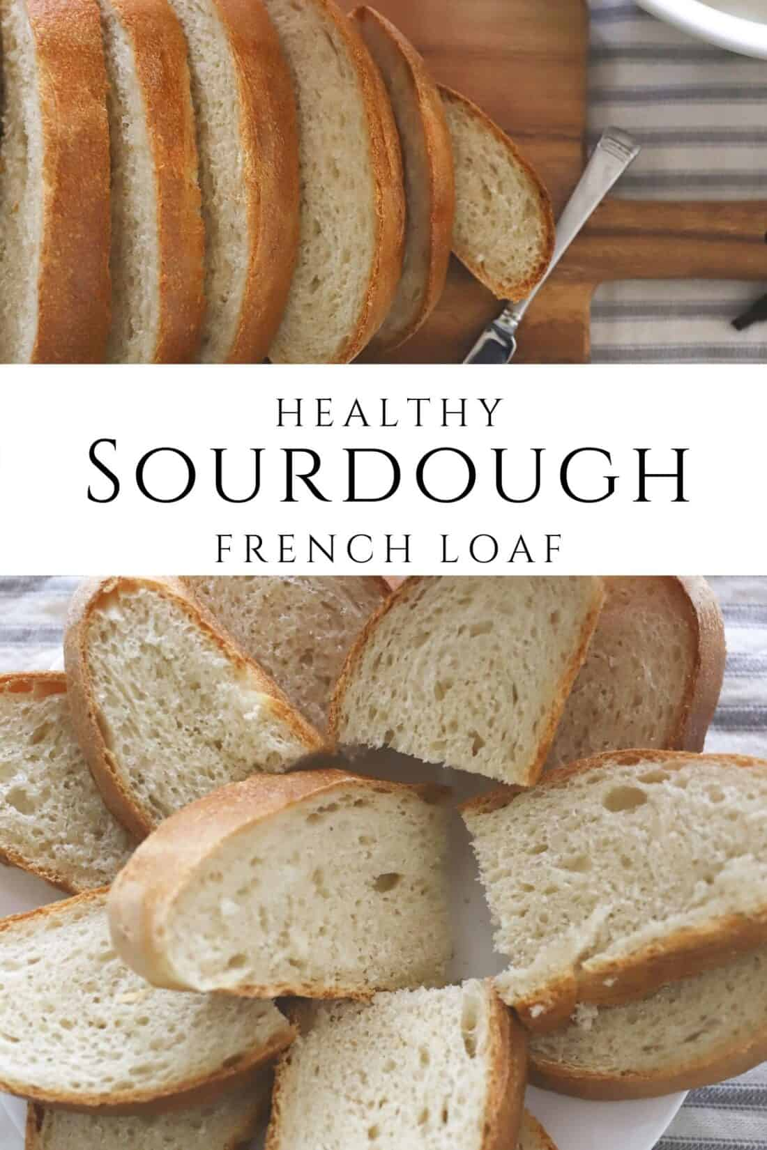 healthy sourdough french loaf bread sliced
