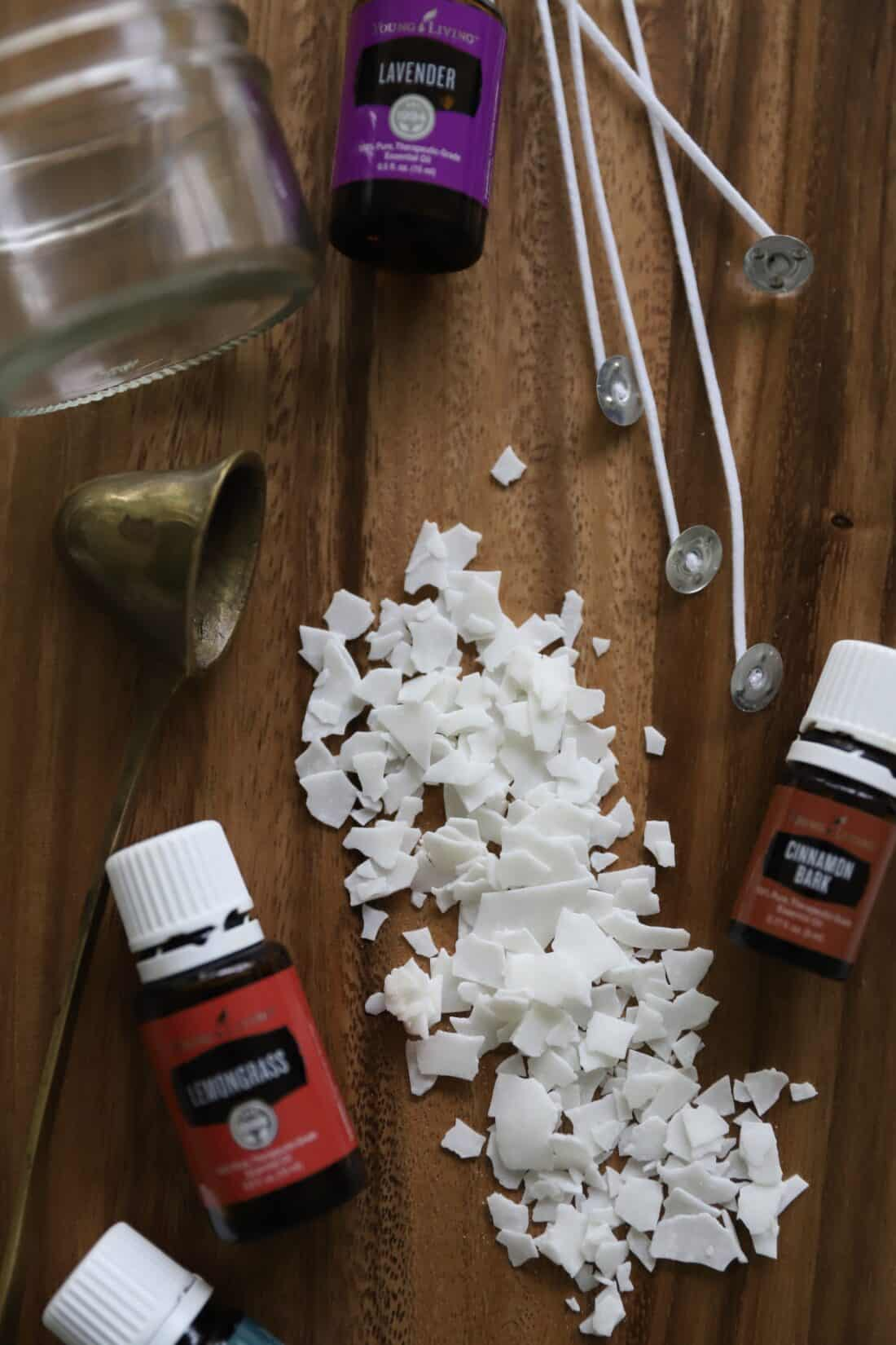 all of the supplies you need to make DIY essential oil candles from home simple and easy