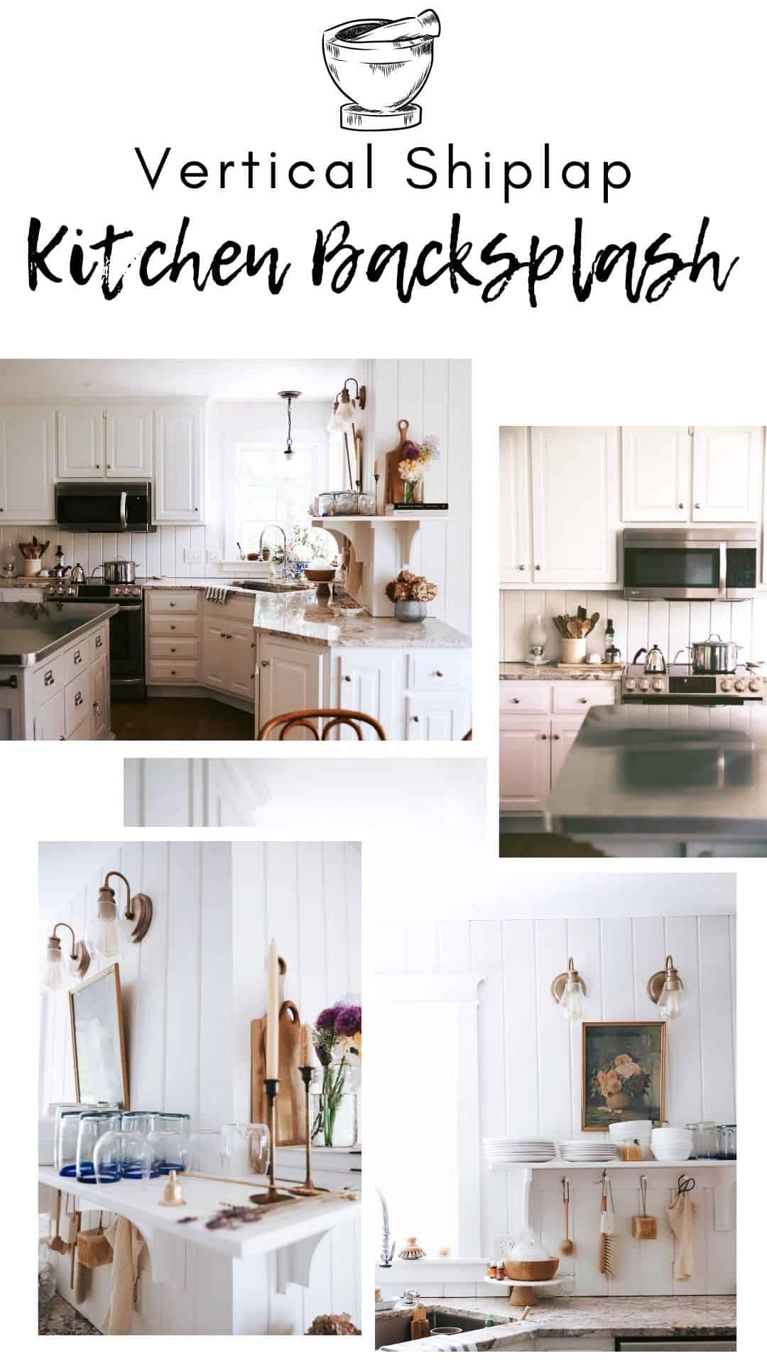 vertical eased-edge kitchen backsplash with open shelving
