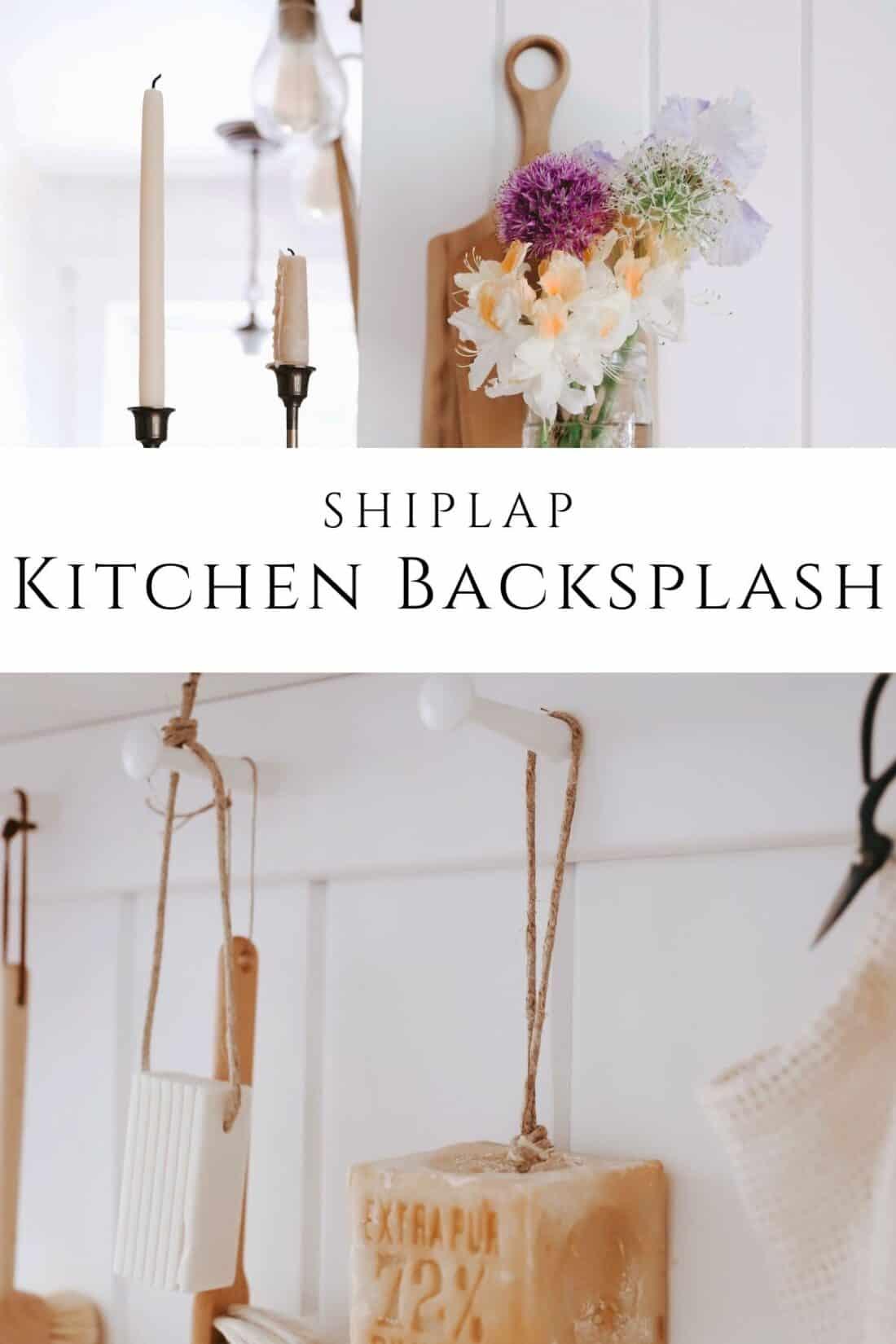 vertical shiplap kitchen backsplash with fresh flowers on open shelving