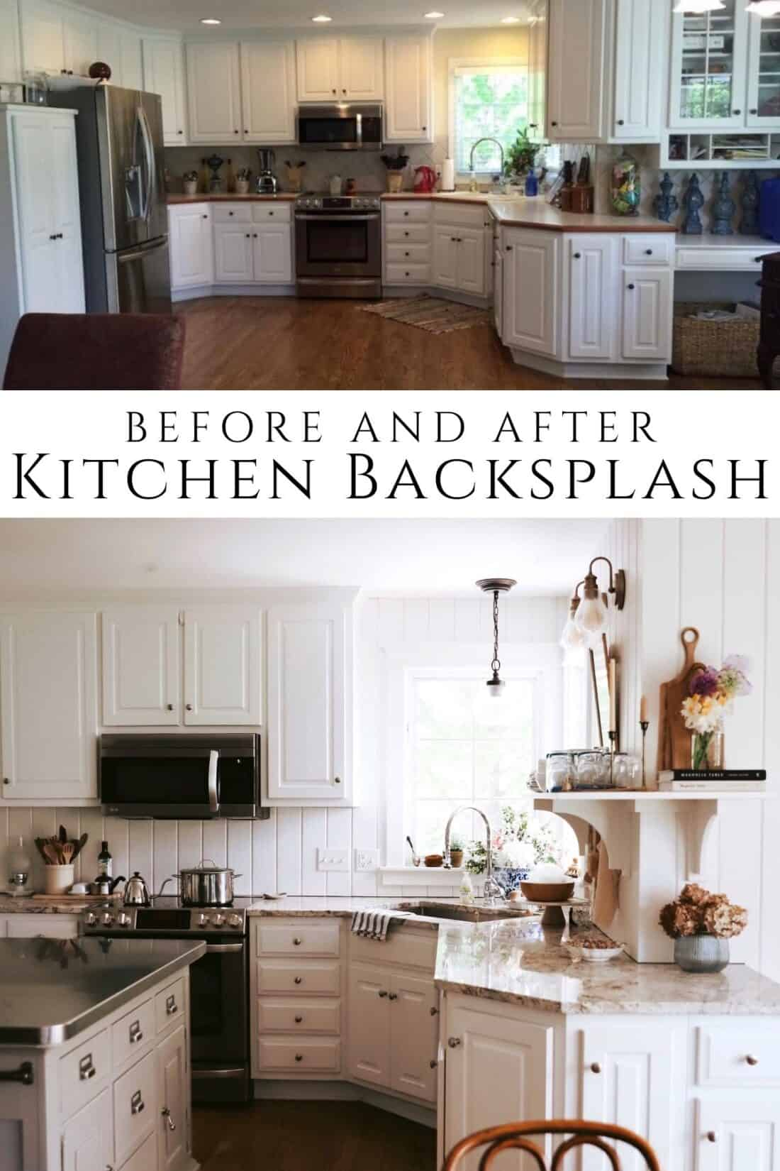 a before and after photo of shiplap kitchen backsplash