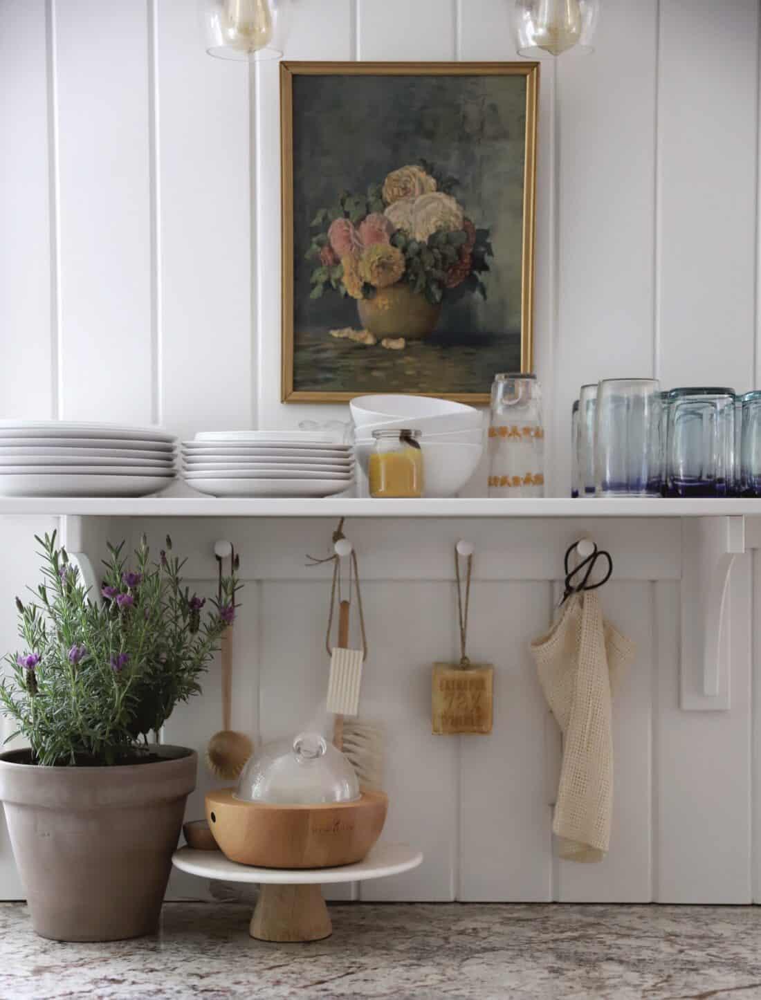 lavender plant and aria diffuser in kitchen