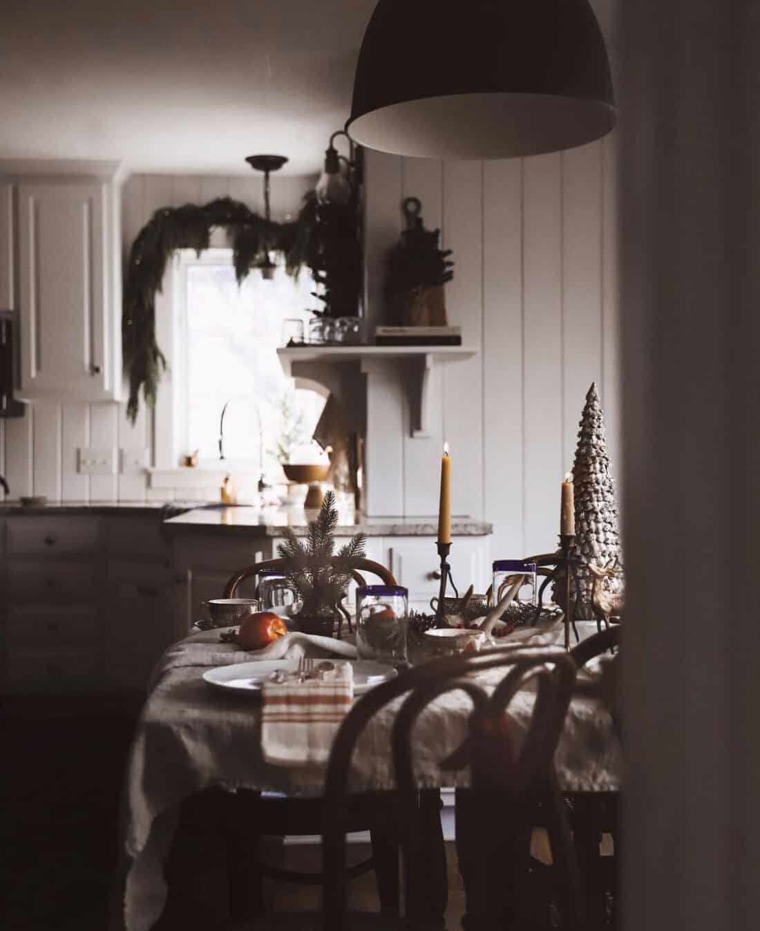 classic christmas decorations with a cottage and farmhouse vibe