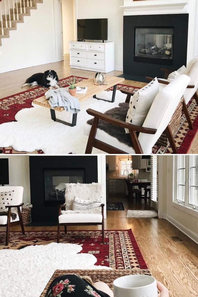 faux fur rug in a living room layered