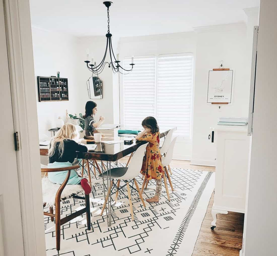 creating a homeschool room in your dining room