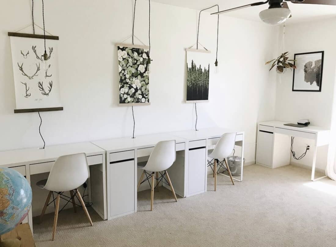 using a bedroom or basement for a homeschool room with desks