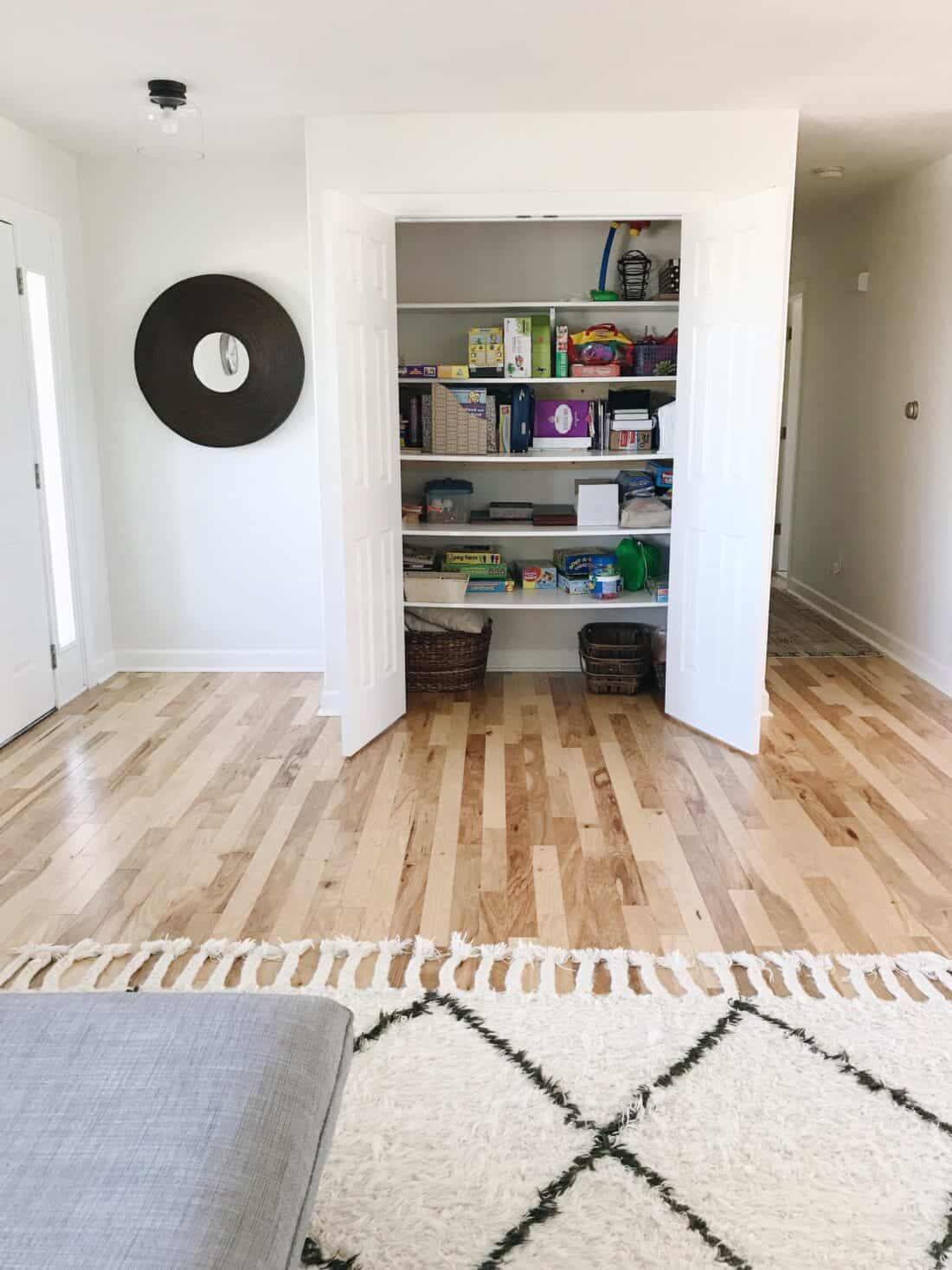 homeschool storage solution with a spare closet