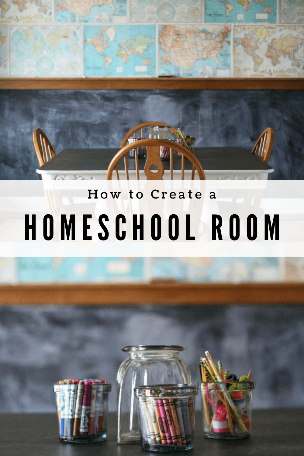 how to set up a homeschool room with a map wall