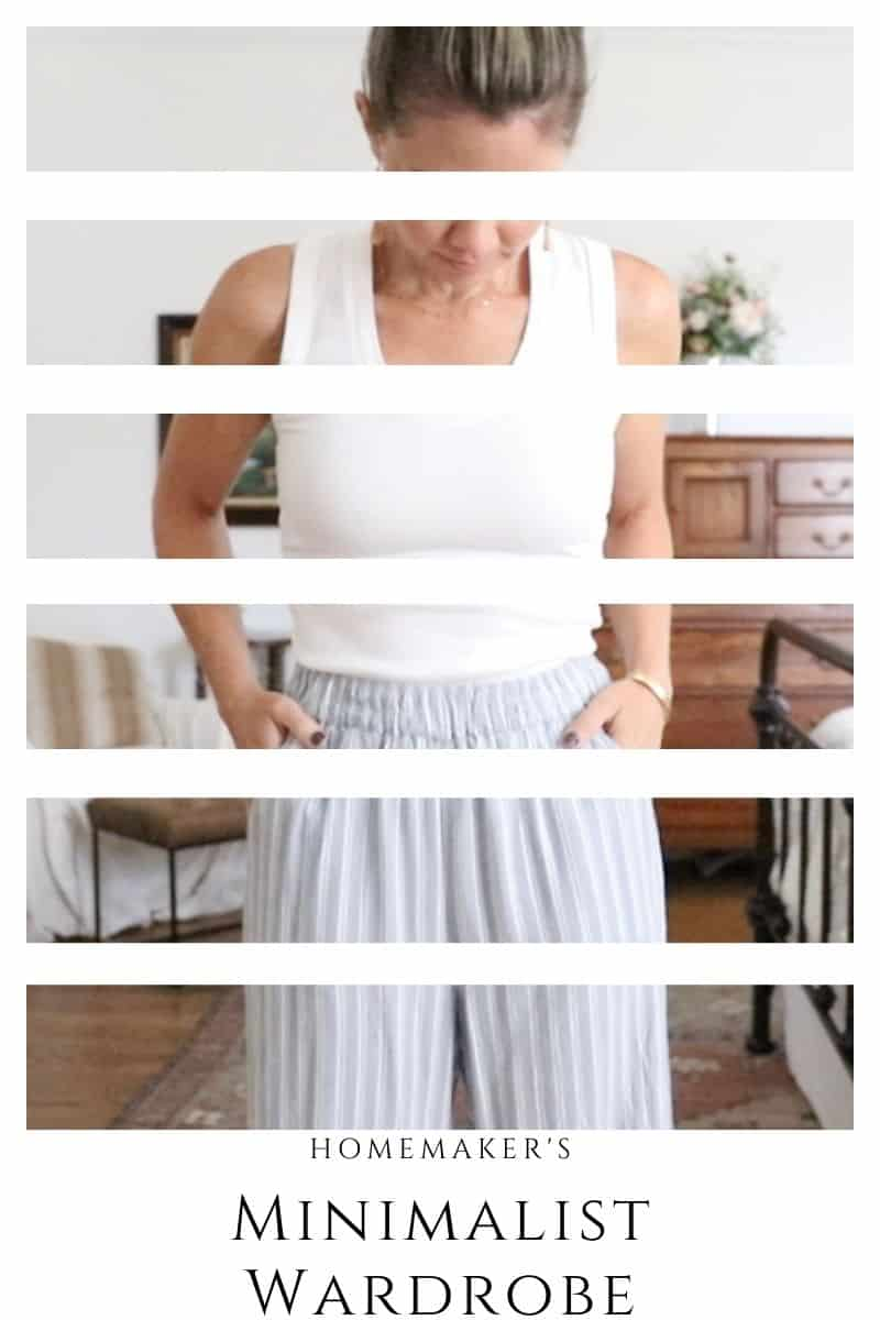 mother in a white tank top with blue and white striped pants
