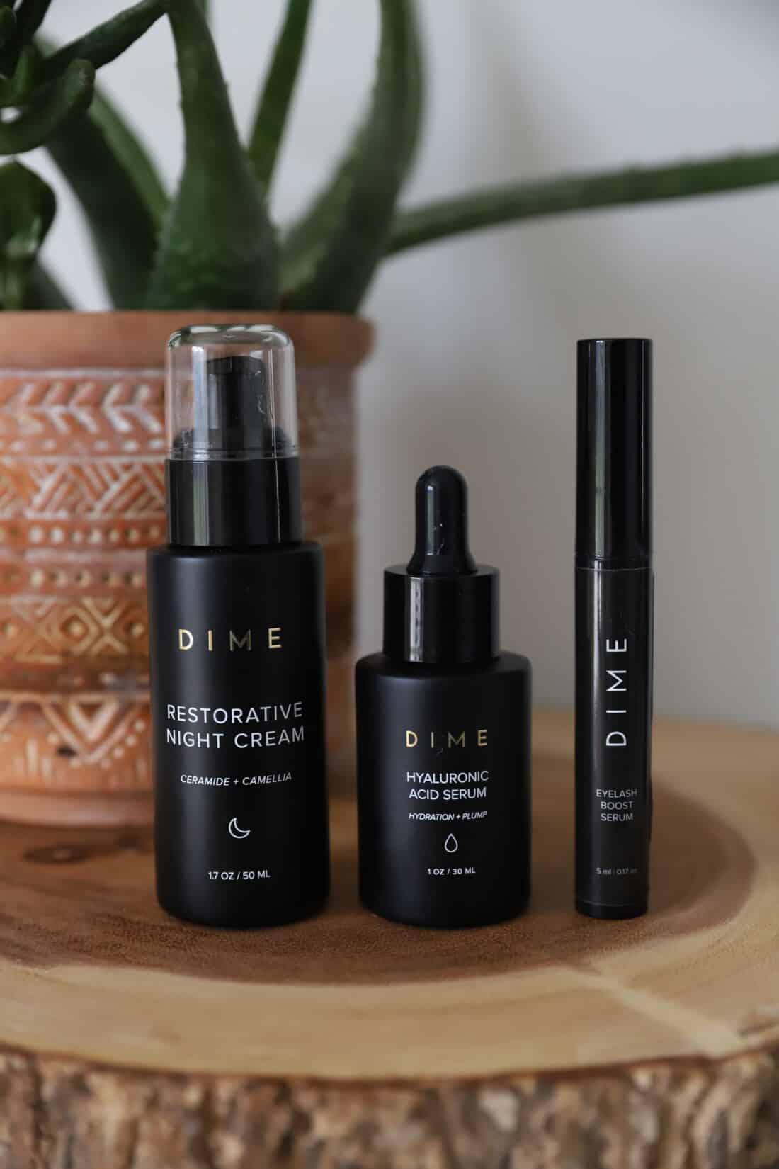 dime beauty evening skin care routine products
