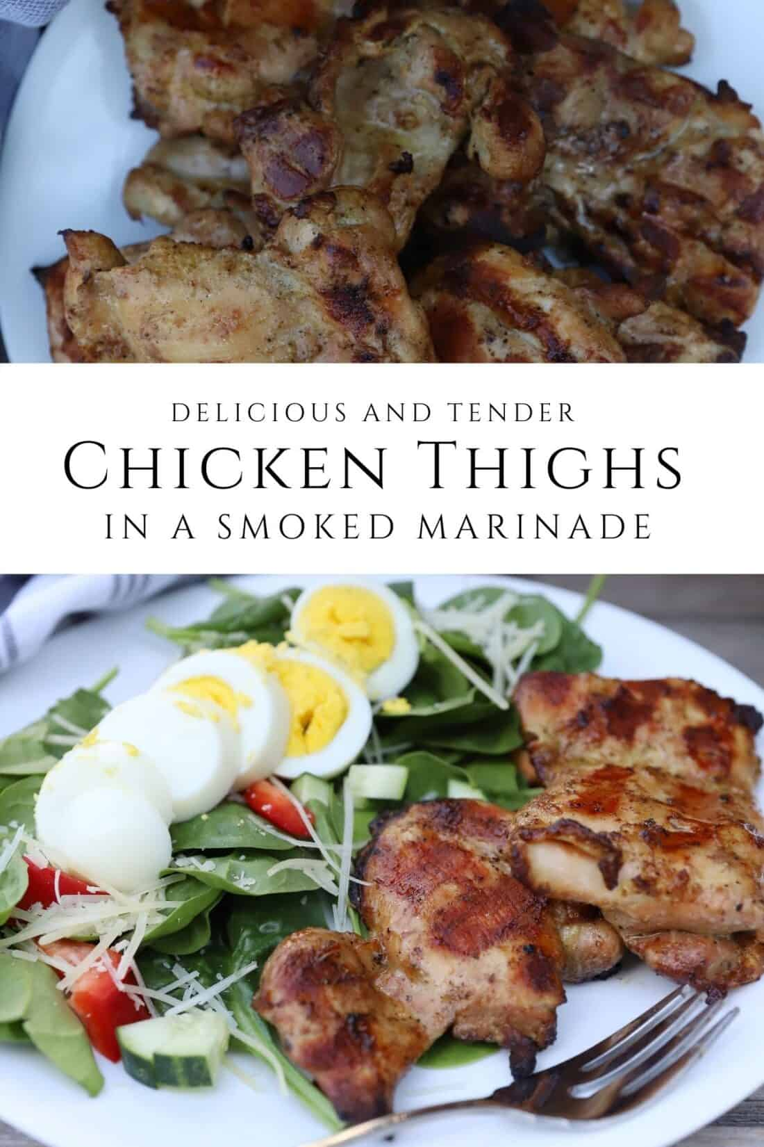 Grilled Smoked Chicken Thighs on a white plate
