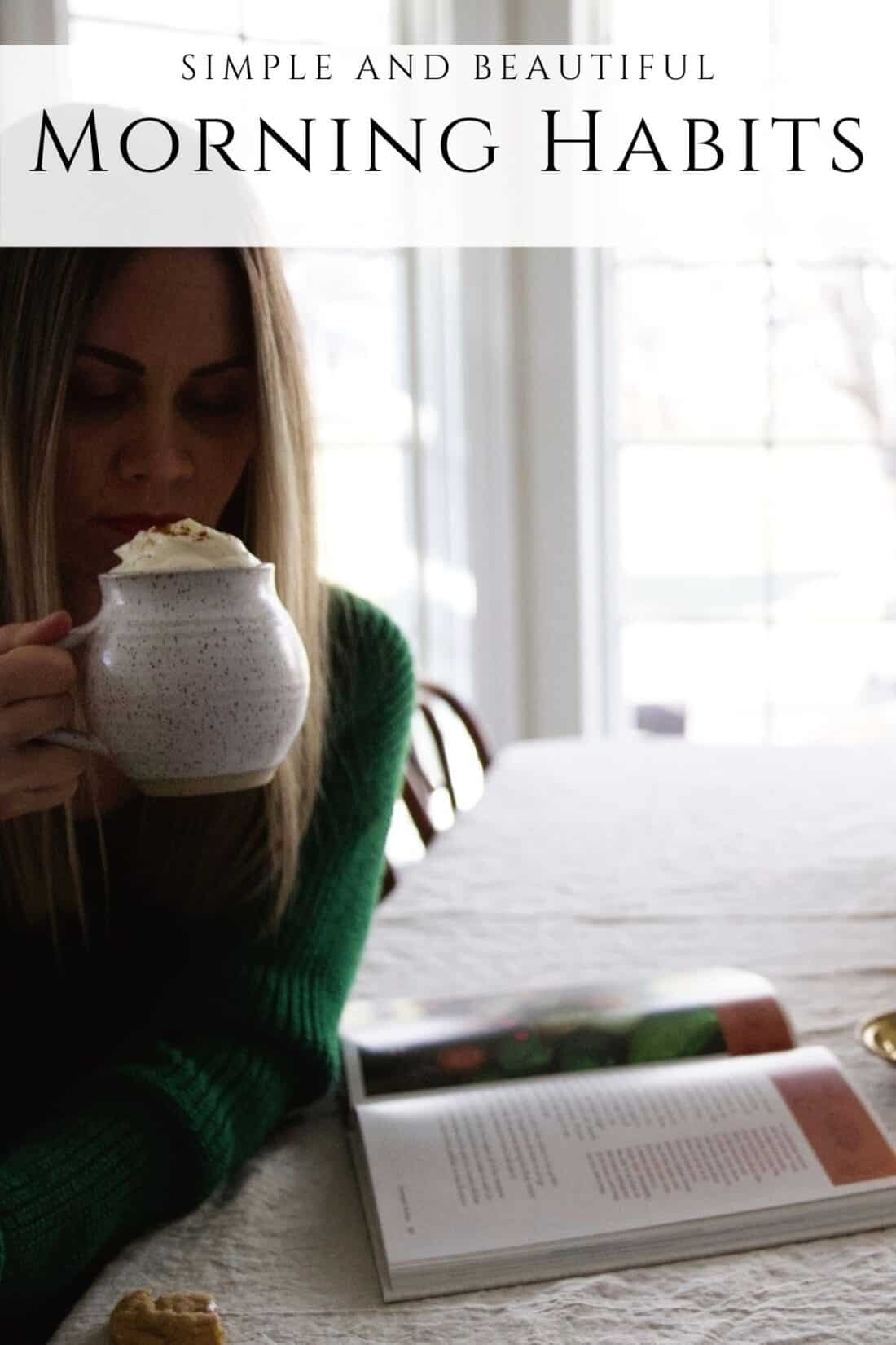 mother at a kitchen table sipping a cinnamon latte