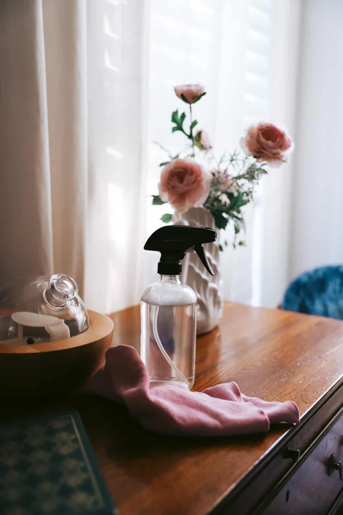 glass bottle on nightstand