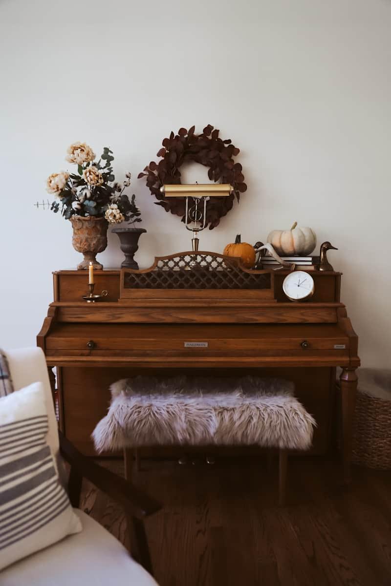 cozy living room piano
