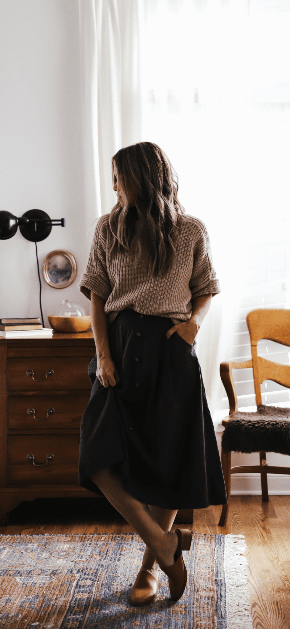 green skirt with a lands end sweater