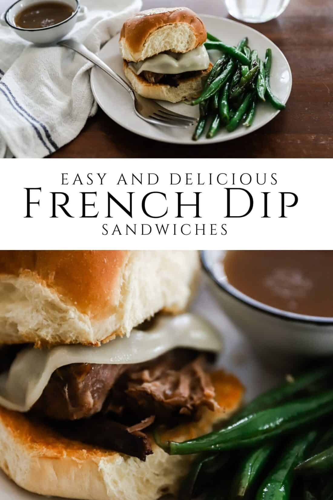french dip sandwich with green beans