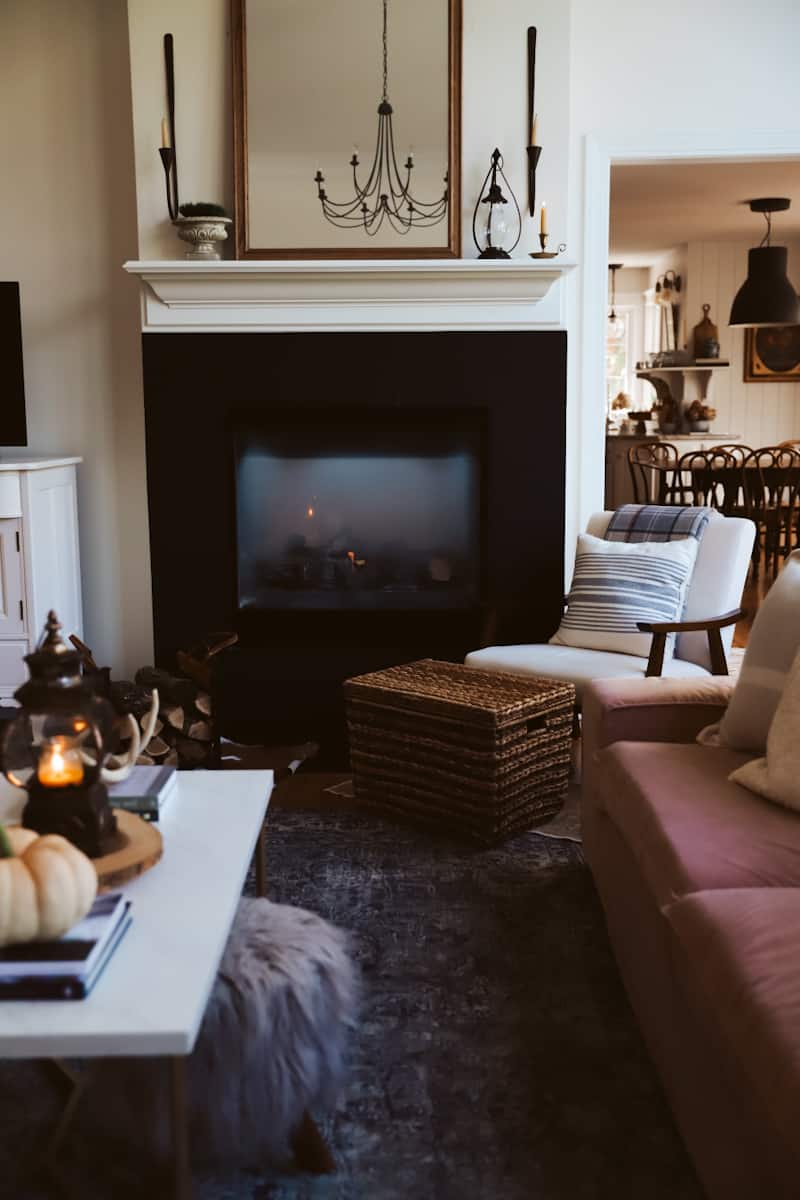 cozy fire place living room