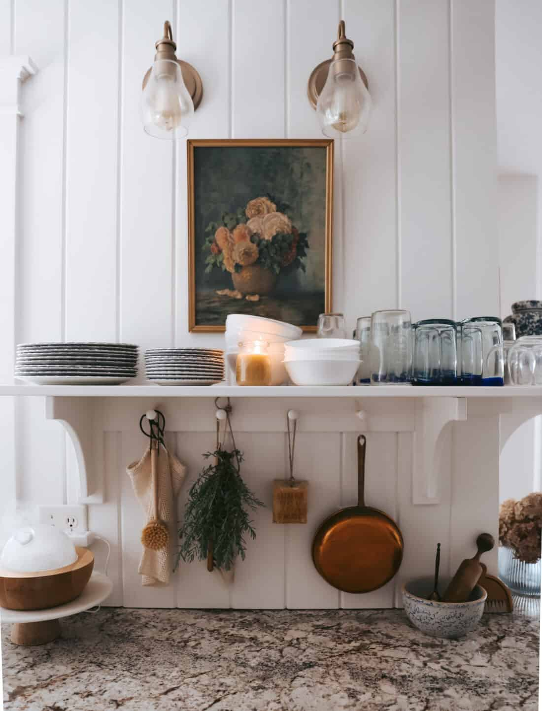 white vertical shiplap in a cottage kitchen