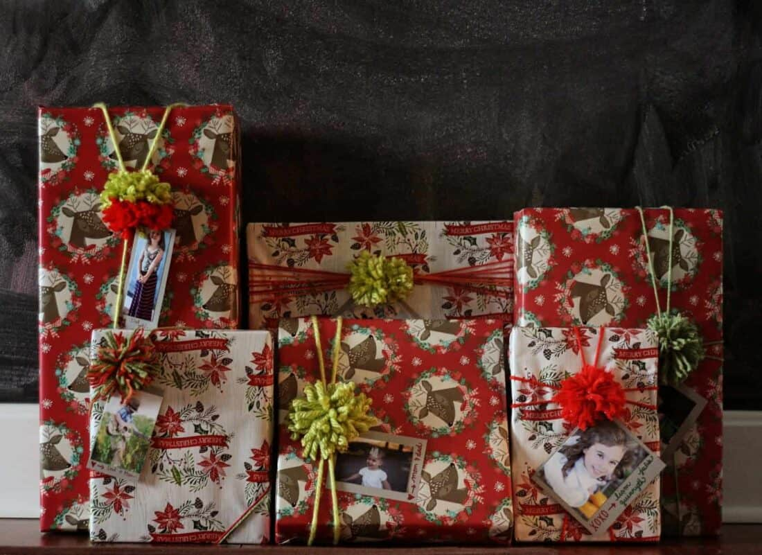 wrapped gifts all lined up