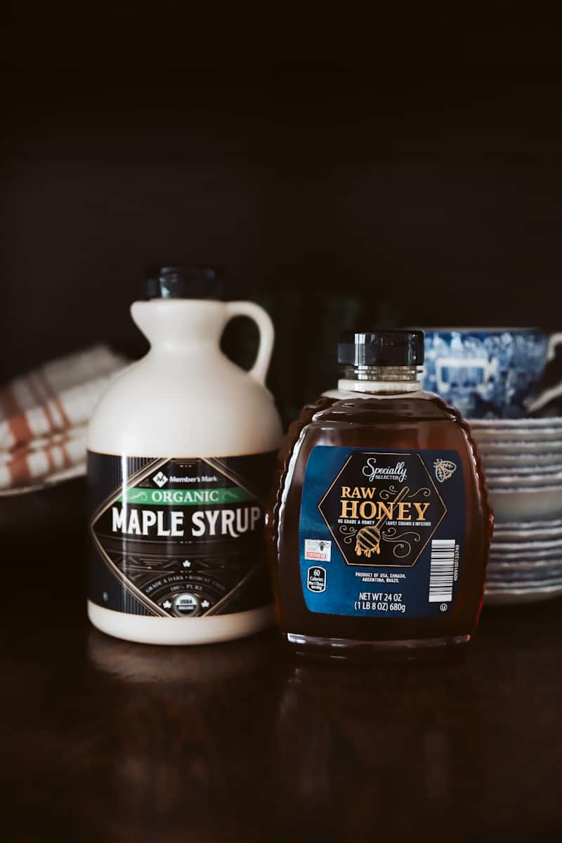 honey and maple syrup for a prepared pantry